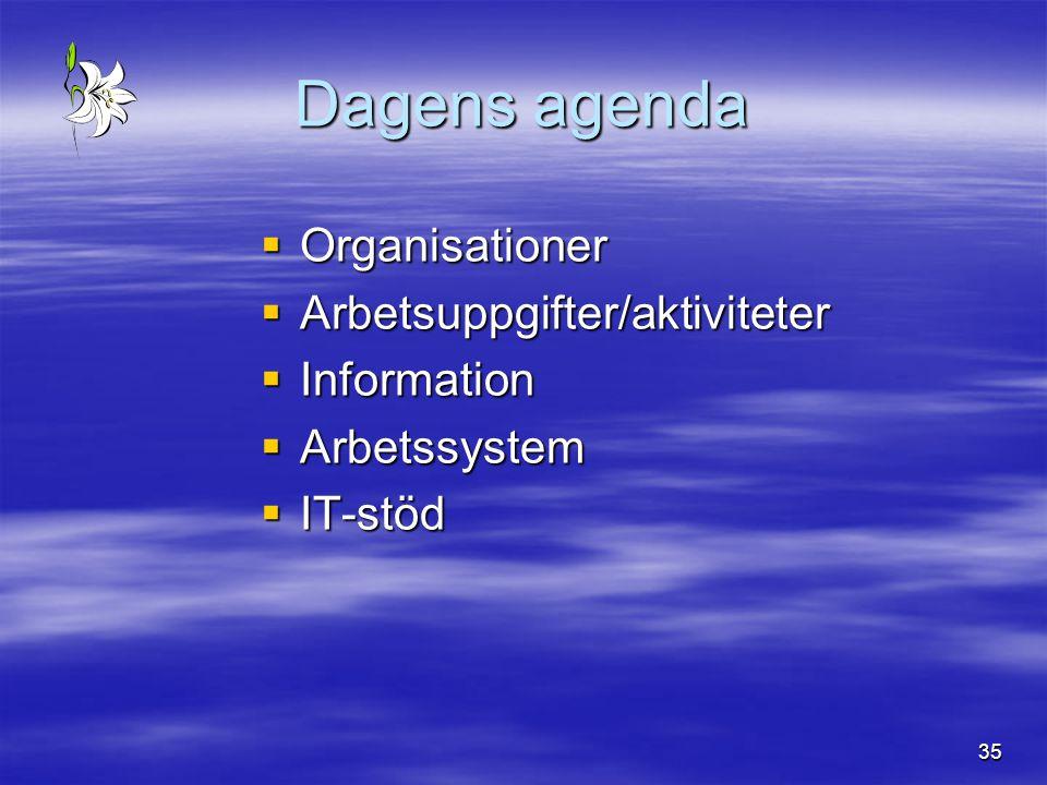 35 Dagens agenda  Organisationer  Arbetsuppgifter/aktiviteter  Information  Arbetssystem  IT-stöd