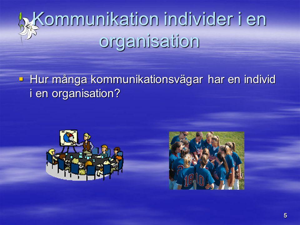 5 Kommunikation individer i en organisation  Hur många kommunikationsvägar har en individ i en organisation?