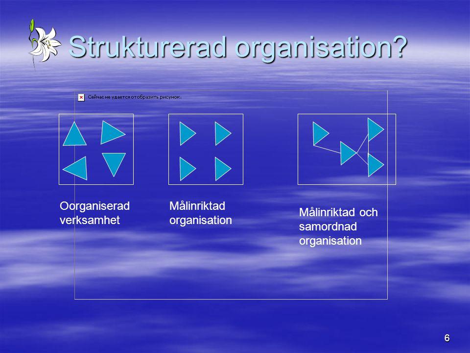 6 Strukturerad organisation? Strukturerad organisation? Oorganiserad verksamhet Målinriktad organisation Målinriktad och samordnad organisation