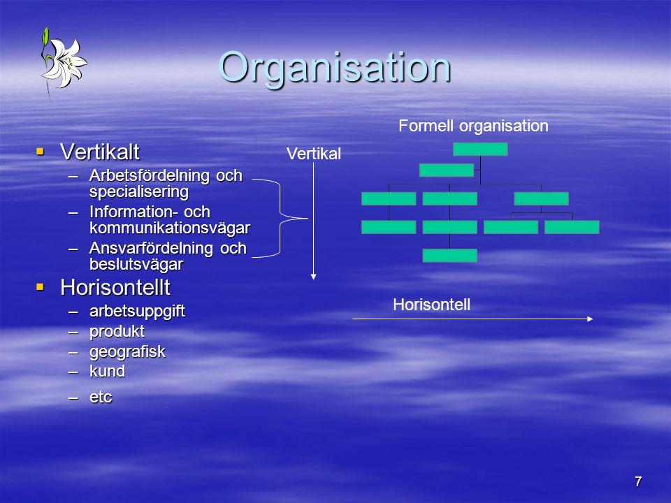 7  Vertikalt –Arbetsfördelning och specialisering –Information- och kommunikationsvägar –Ansvarfördelning och beslutsvägar  Horisontellt –arbetsuppg