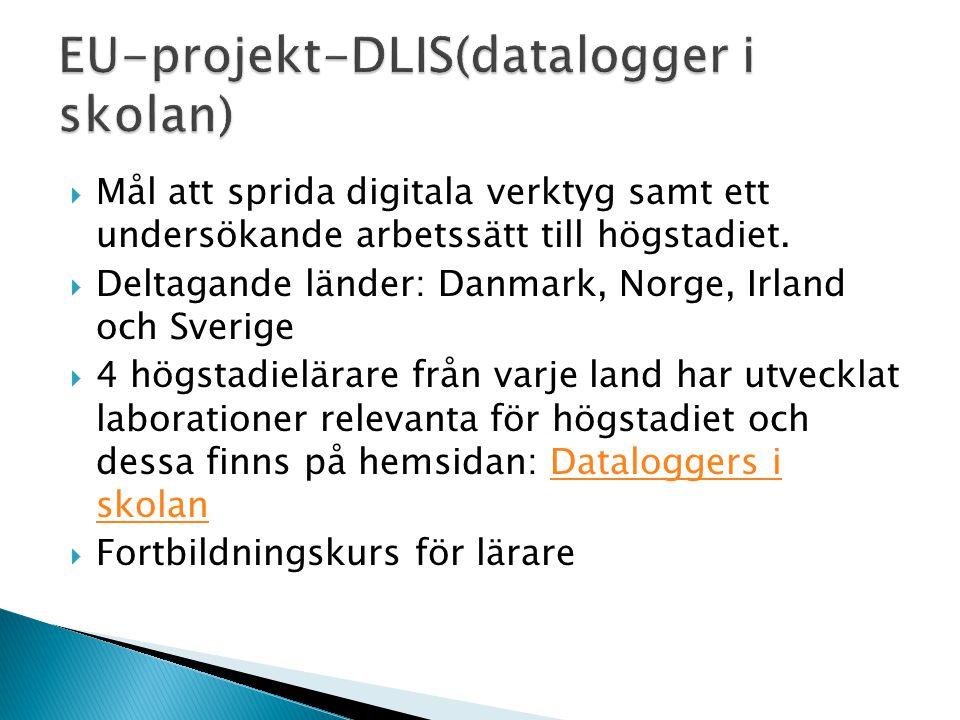  Mål att sprida digitala verktyg samt ett undersökande arbetssätt till högstadiet.  Deltagande länder: Danmark, Norge, Irland och Sverige  4 högsta