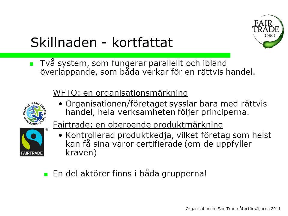 Organisationen Fair Trade Återförsäljarna 2011 Skillnaden - kortfattat  Två system, som fungerar parallellt och ibland överlappande, som båda verkar för en rättvis handel.
