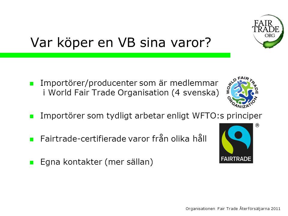 Organisationen Fair Trade Återförsäljarna 2011 Var köper en VB sina varor.