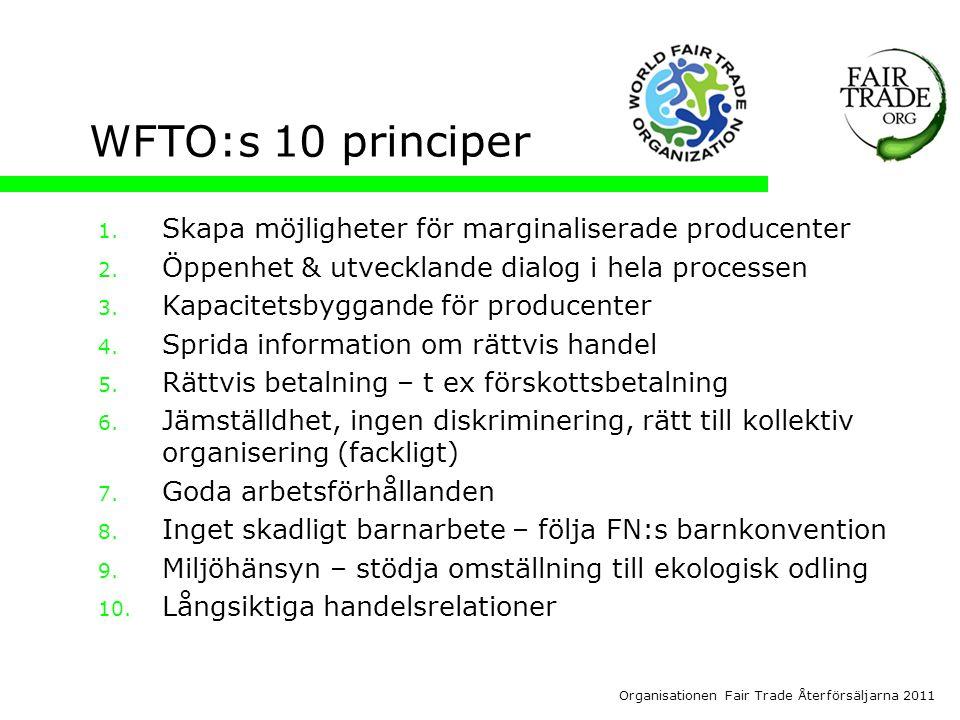 Organisationen Fair Trade Återförsäljarna 2011 WFTO:s 10 principer 1.