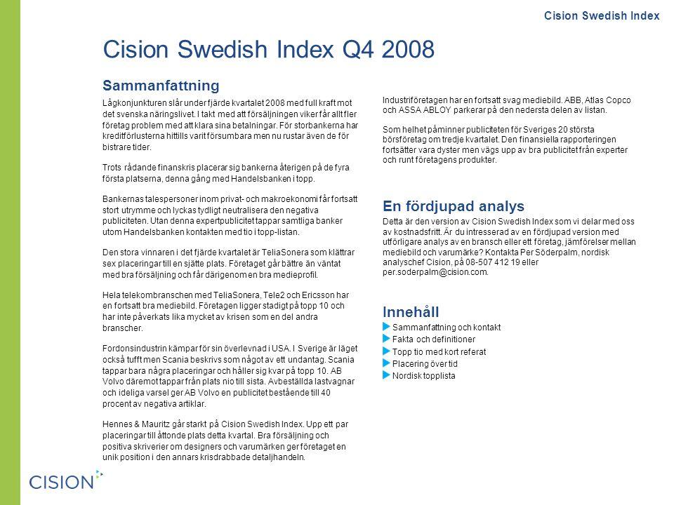 Fakta och definitioner: Cision Swedish Index Om Cision Swedish Index Cision Swedish Index är en kvartalsstudie från Cision som rankar publicitetens påverkan på varumärket hos börsnoterade företag.