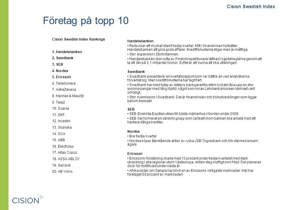 Företag på topp 10 Cision Swedish Index Rankings 1.