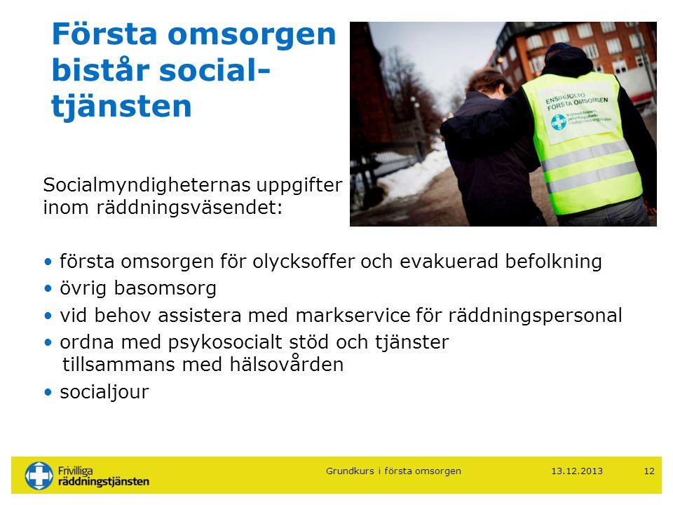 13.12.201312 Första omsorgen bistår social- tjänsten Socialmyndigheternas uppgifter inom räddningsväsendet: • första omsorgen för olycksoffer och evak