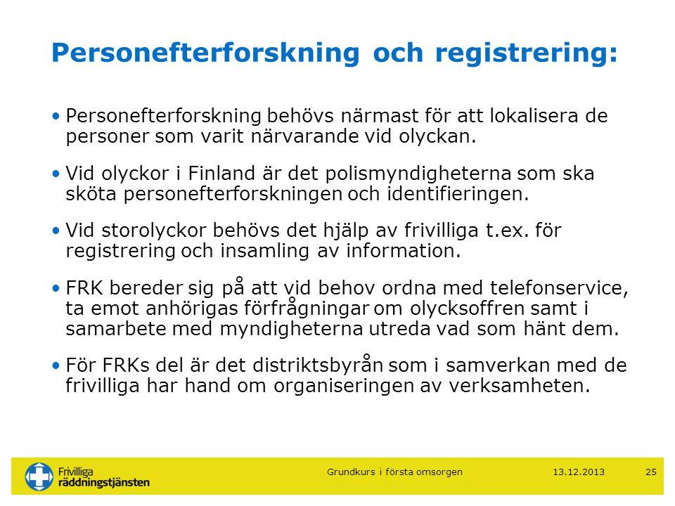13.12.201325 Personefterforskning och registrering: •Personefterforskning behövs närmast för att lokalisera de personer som varit närvarande vid olyck