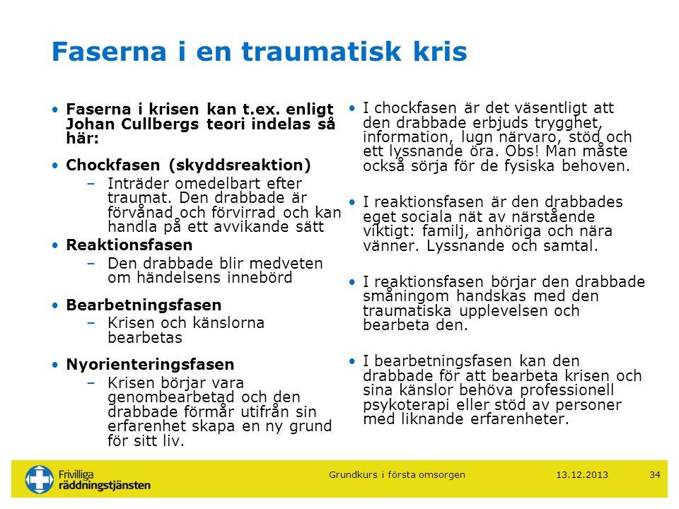 13.12.201334 Faserna i en traumatisk kris •Faserna i krisen kan t.ex. enligt Johan Cullbergs teori indelas så här: •Chockfasen (skyddsreaktion) –Inträ