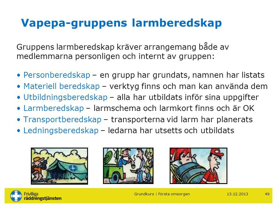 13.12.201349 Vapepa-gruppens larmberedskap Gruppens larmberedskap kräver arrangemang både av medlemmarna personligen och internt av gruppen: • Personb
