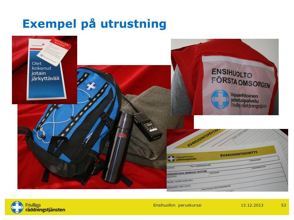 13.12.201353 Exempel på utrustning Ensihuollon peruskurssi
