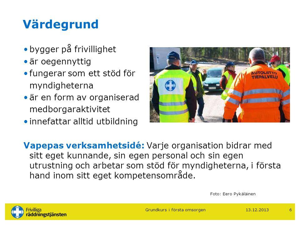 13.12.20136 Värdegrund •bygger på frivillighet •är oegennyttig •fungerar som ett stöd för myndigheterna •är en form av organiserad medborgaraktivitet