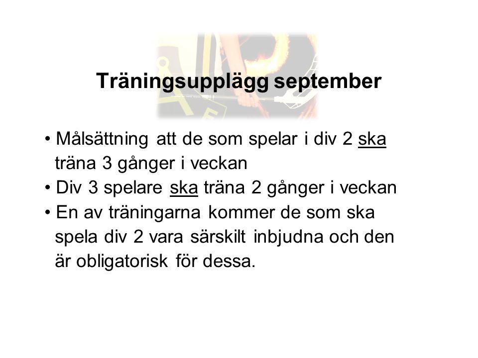 Träningsupplägg september • Målsättning att de som spelar i div 2 ska träna 3 gånger i veckan • Div 3 spelare ska träna 2 gånger i veckan • En av trän