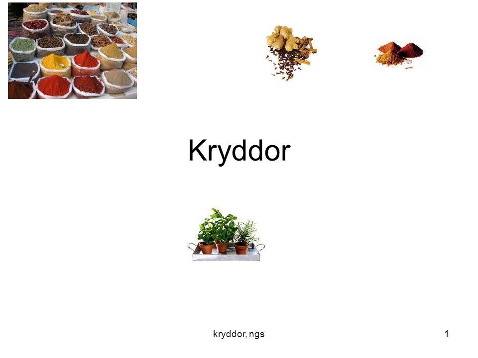 kryddor, ngs12 Kryddvanor För 20 år sedan använde vi: •Vitpeppar, grönpeppar, curry, mejram, körvel, Cayenne, paprika, lagerblad och kryddpeppar.
