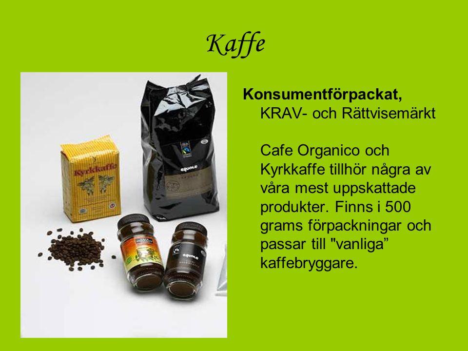 Kaffe Konsumentförpackat, KRAV- och Rättvisemärkt Cafe Organico och Kyrkkaffe tillhör några av våra mest uppskattade produkter. Finns i 500 grams förp