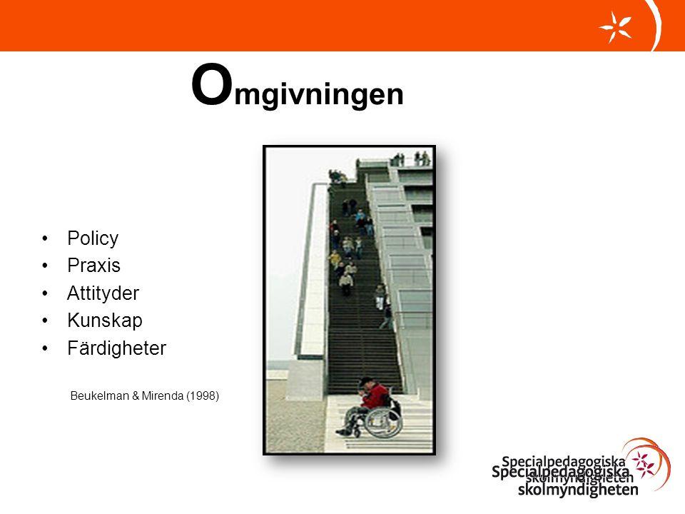 O mgivningen •Policy •Praxis •Attityder •Kunskap •Färdigheter Beukelman & Mirenda (1998)