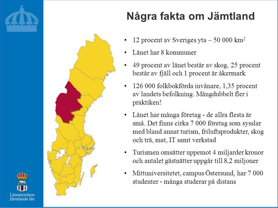 •12 procent av Sveriges yta – 50 000 km 2 •Länet har 8 kommuner •49 procent av länet består av skog, 25 procent består av fjäll och 1 procent är åkerm