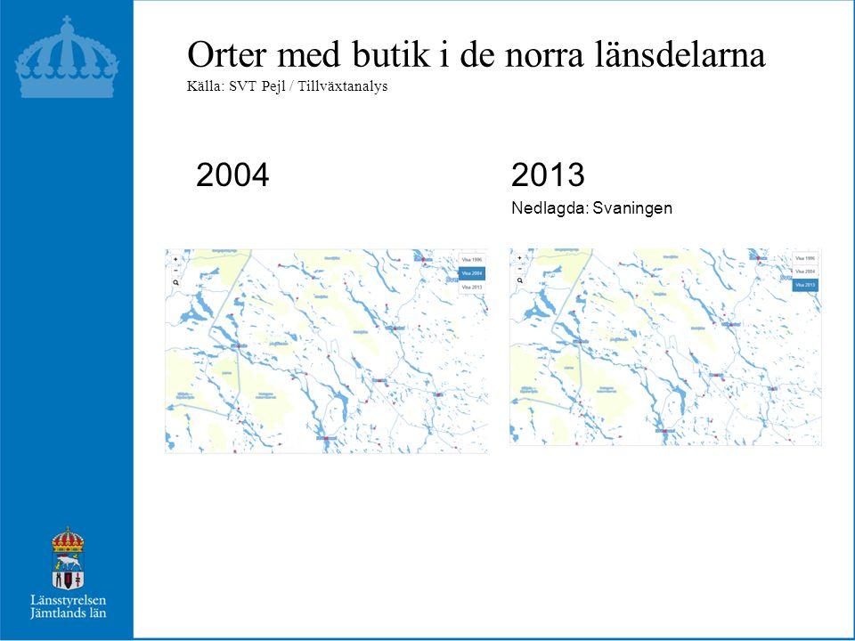 Orter med butik i de mellersta länsdelarna 2004 2013 Nedlagda: Ånn, Mattmar, Landön, Alsen, Börtnan, Skålan, Hara, Marieby, Rissna, Våle, Nyhem, Pilgrimstad, Hällesjö, Sörbygden m.fl