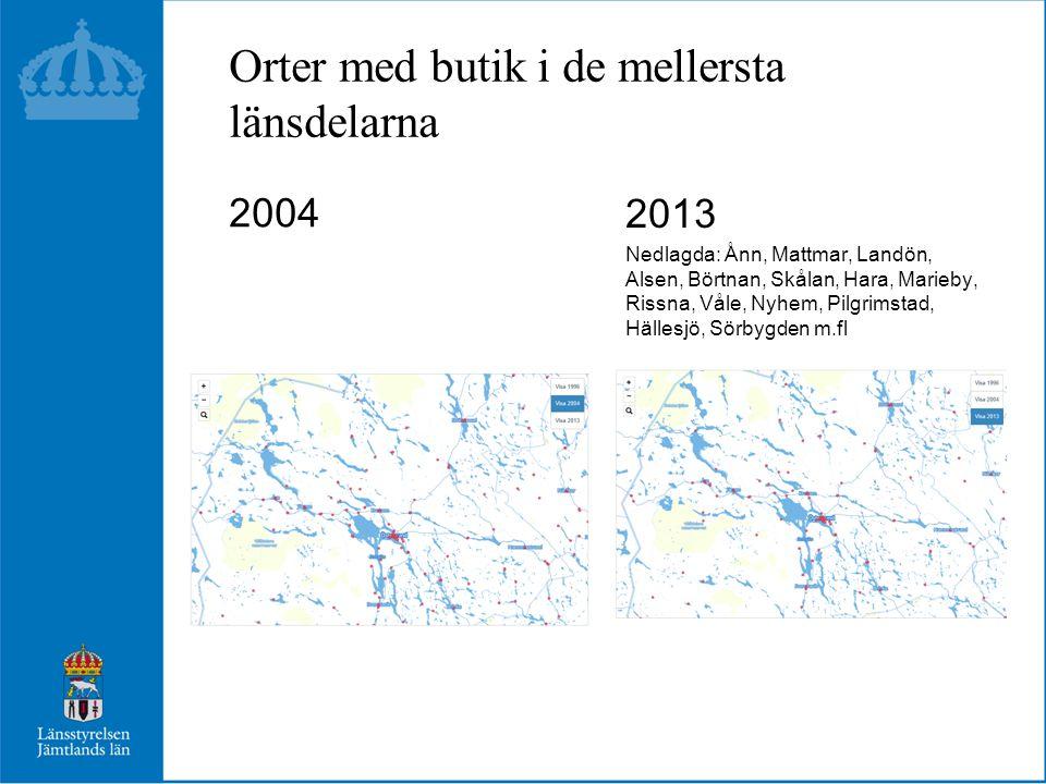 Orter med butik i de mellersta länsdelarna 2004 2013 Nedlagda: Ånn, Mattmar, Landön, Alsen, Börtnan, Skålan, Hara, Marieby, Rissna, Våle, Nyhem, Pilgr