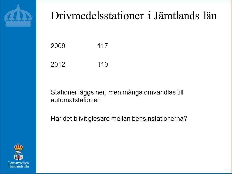 Drivmedelsstationer i Jämtlands län 2009117 2012 110 Stationer läggs ner, men många omvandlas till automatstationer. Har det blivit glesare mellan ben