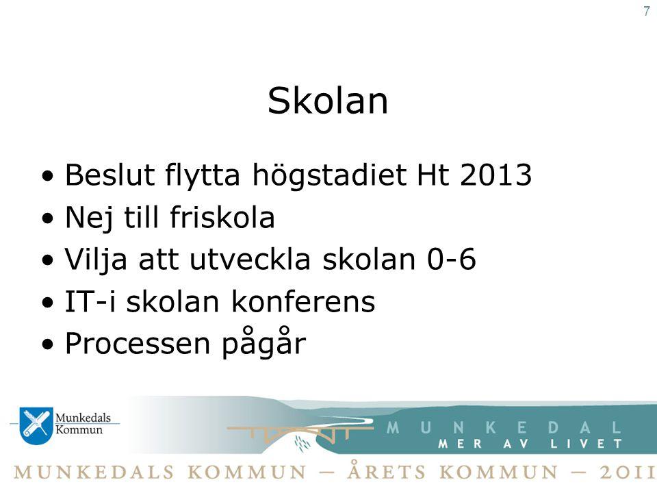 Vägen •Arbete pågår att politiskt påverka prioritering genom Fyrbodal till VG- regionen. 8