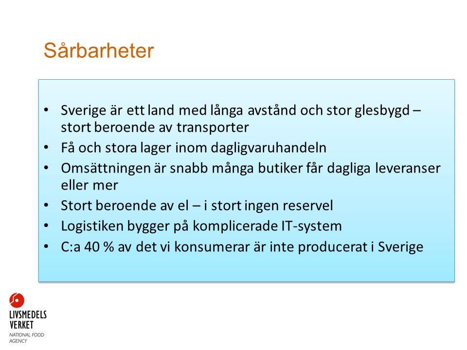 Sårbarheter • Sverige är ett land med långa avstånd och stor glesbygd – stort beroende av transporter • Få och stora lager inom dagligvaruhandeln • Omsättningen är snabb många butiker får dagliga leveranser eller mer • Stort beroende av el – i stort ingen reservel • Logistiken bygger på komplicerade IT-system • C:a 40 % av det vi konsumerar är inte producerat i Sverige • Sverige är ett land med långa avstånd och stor glesbygd – stort beroende av transporter • Få och stora lager inom dagligvaruhandeln • Omsättningen är snabb många butiker får dagliga leveranser eller mer • Stort beroende av el – i stort ingen reservel • Logistiken bygger på komplicerade IT-system • C:a 40 % av det vi konsumerar är inte producerat i Sverige