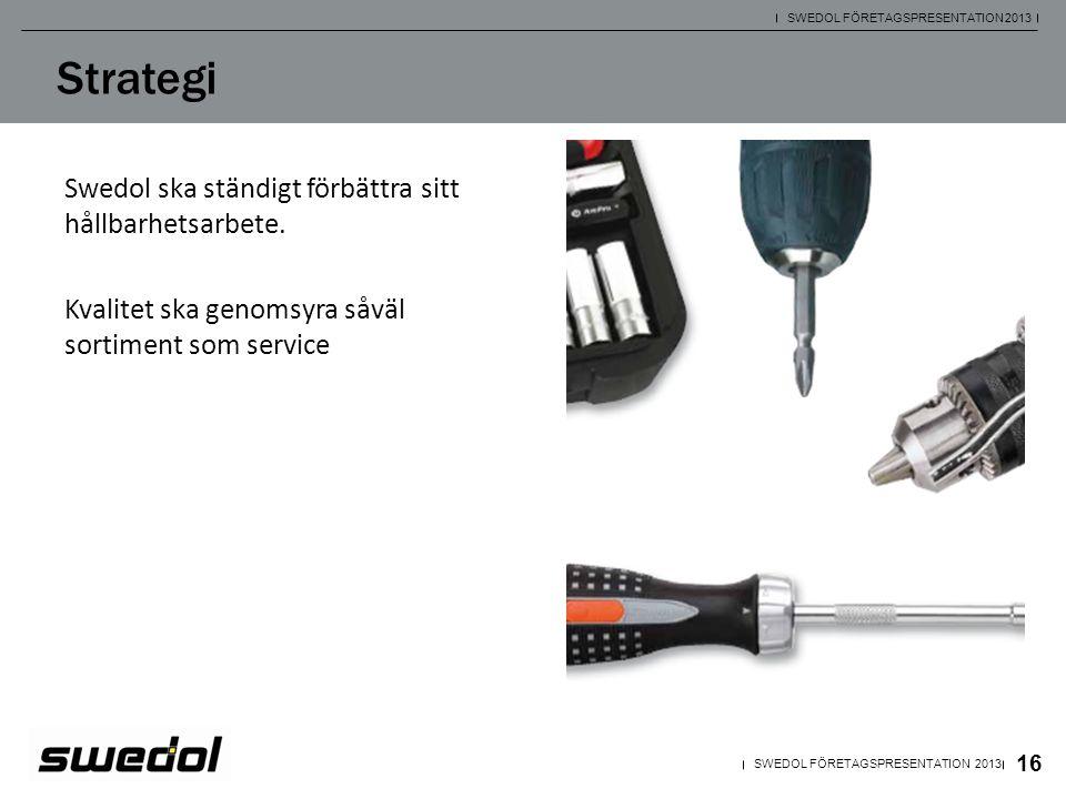 Swedol ska ständigt förbättra sitt hållbarhetsarbete. Kvalitet ska genomsyra såväl sortiment som service 16 SWEDOL FÖRETAGSPRESENTATION 2013 Strategi