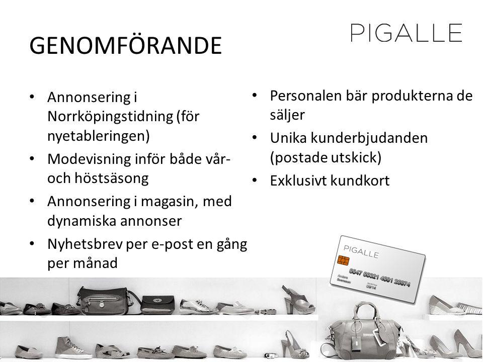 GENOMFÖRANDE • Annonsering i Norrköpingstidning (för nyetableringen) • Modevisning inför både vår- och höstsäsong • Annonsering i magasin, med dynamis