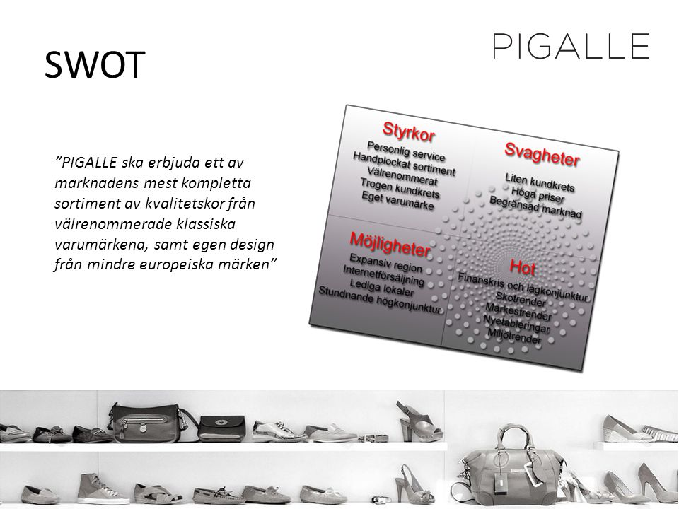 """SWOT """"PIGALLE ska erbjuda ett av marknadens mest kompletta sortiment av kvalitetskor från välrenommerade klassiska varumärkena, samt egen design från"""