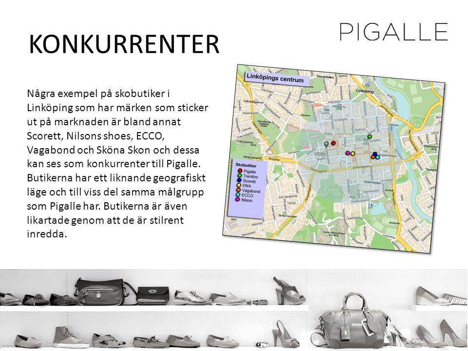 KONKURRENTER Några exempel på skobutiker i Linköping som har märken som sticker ut på marknaden är bland annat Scorett, Nilsons shoes, ECCO, Vagabond