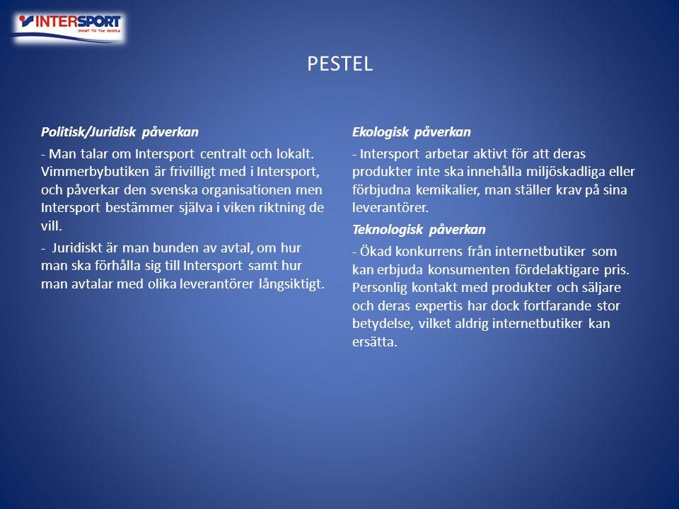 PESTEL Politisk/Juridisk påverkan - Man talar om Intersport centralt och lokalt. Vimmerbybutiken är frivilligt med i Intersport, och påverkar den sven
