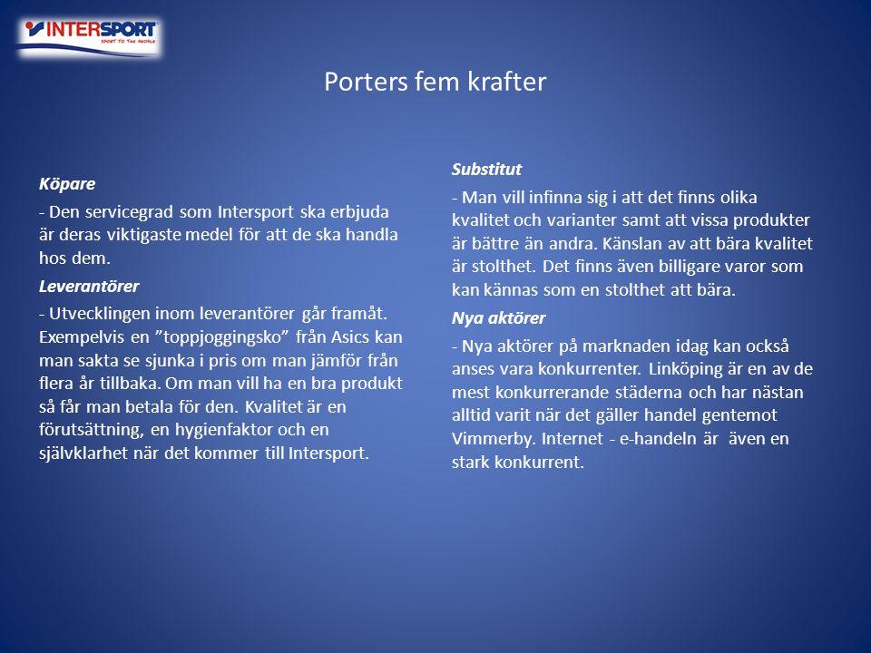 Porters fem krafter Substitut - Man vill infinna sig i att det finns olika kvalitet och varianter samt att vissa produkter är bättre än andra. Känslan