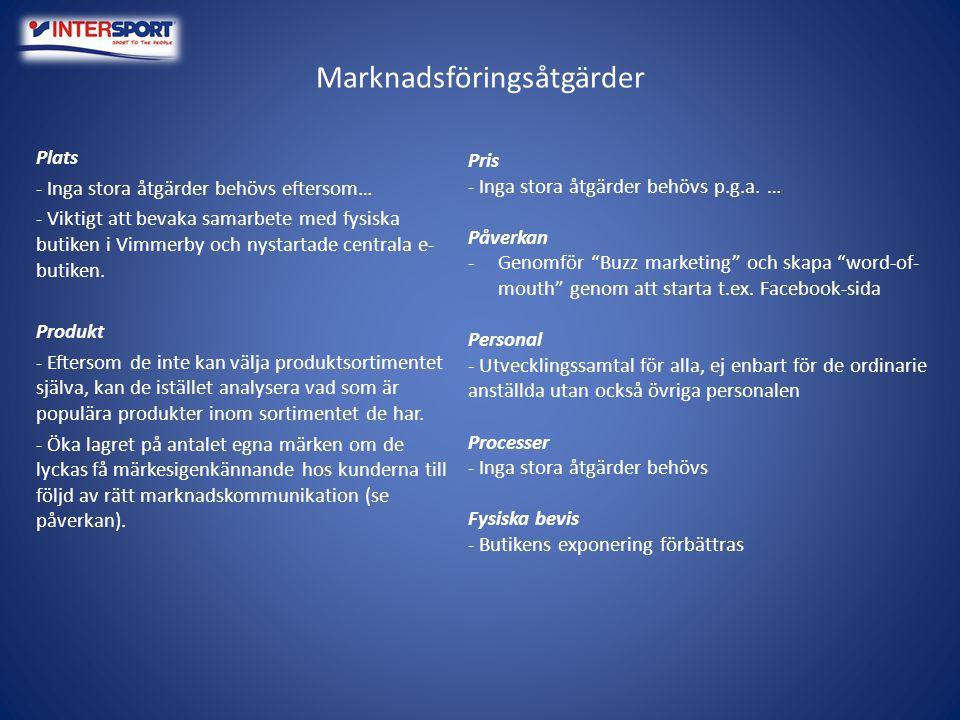 Marknadsföringsåtgärder Plats - Inga stora åtgärder behövs eftersom… - Viktigt att bevaka samarbete med fysiska butiken i Vimmerby och nystartade cent