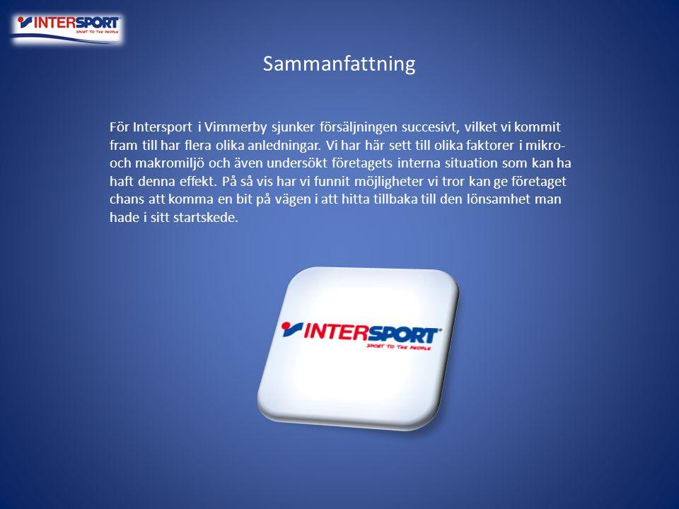 Sammanfattning För Intersport i Vimmerby sjunker försäljningen succesivt, vilket vi kommit fram till har flera olika anledningar. Vi har här sett till