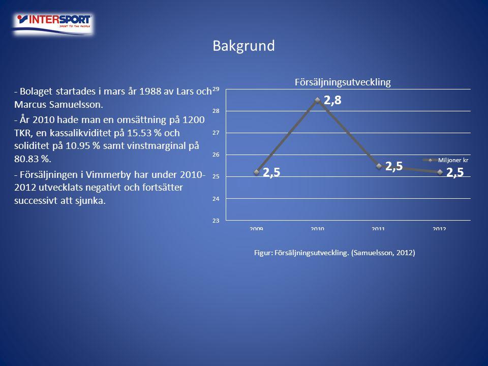 Bakgrund - Bolaget startades i mars år 1988 av Lars och Marcus Samuelsson. - År 2010 hade man en omsättning på 1200 TKR, en kassalikviditet på 15.53 %