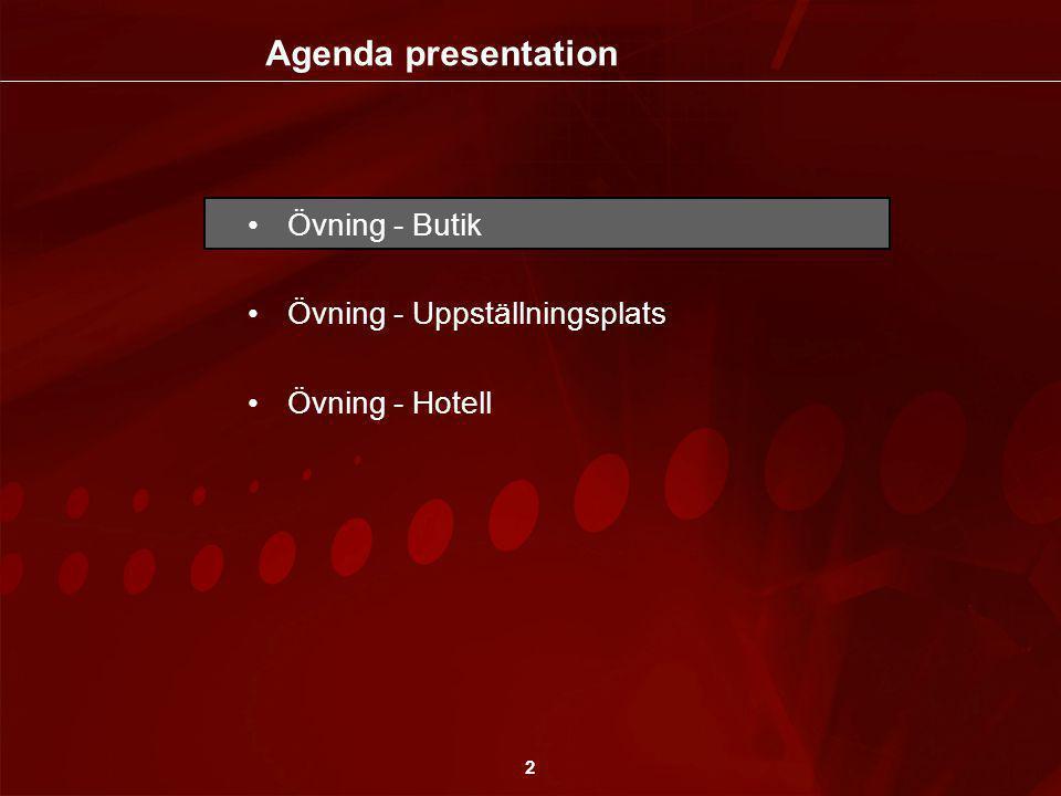 2 •Övning - Butik •Övning - Uppställningsplats •Övning - Hotell Agenda presentation