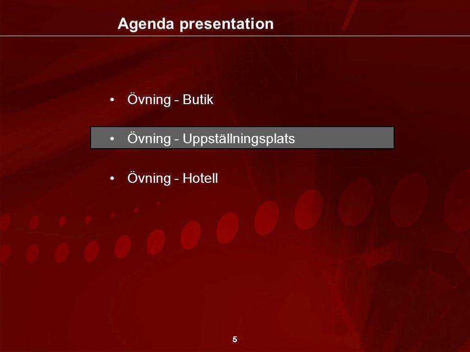 5 •Övning - Butik •Övning - Uppställningsplats •Övning - Hotell Agenda presentation