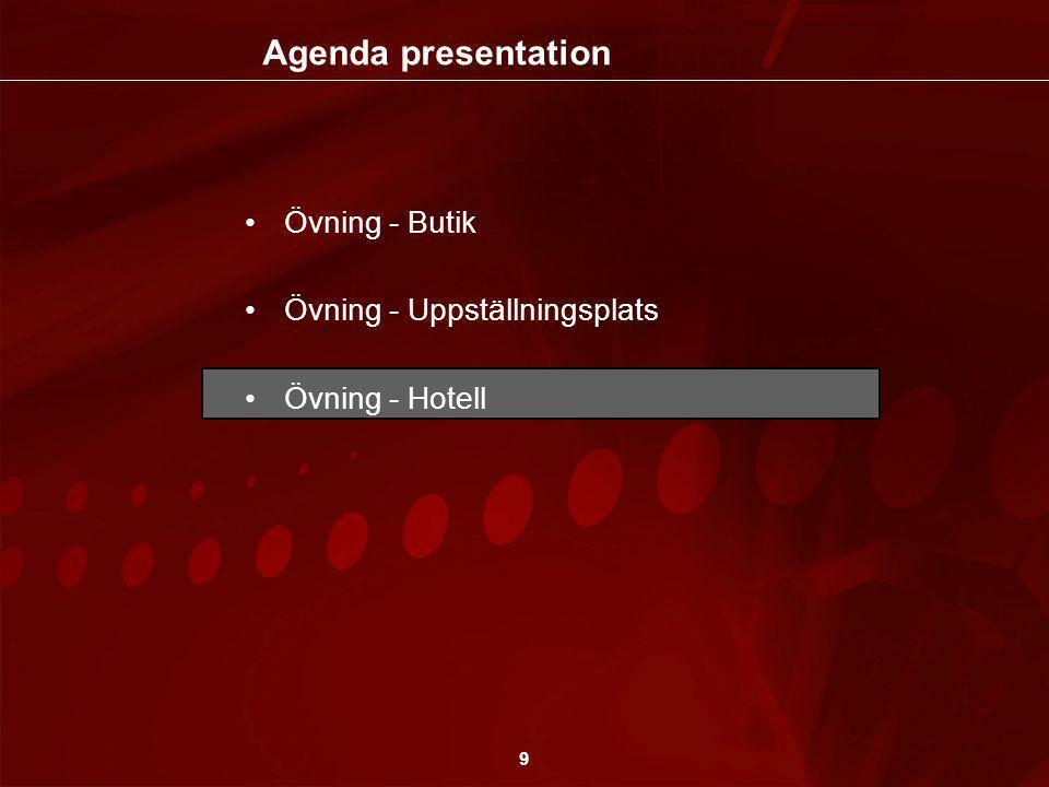 9 •Övning - Butik •Övning - Uppställningsplats •Övning - Hotell Agenda presentation