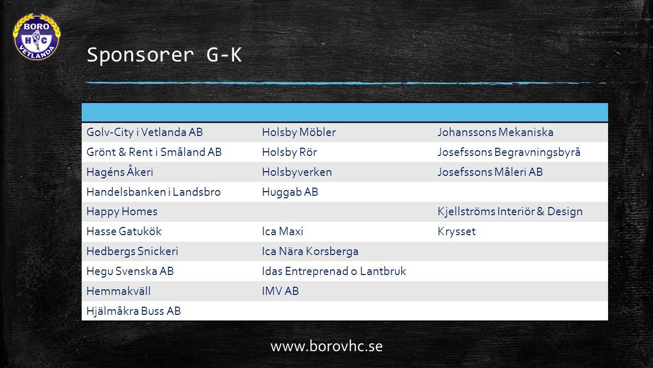 Sponsorer G-K Golv-City i Vetlanda ABHolsby MöblerJohanssons Mekaniska Grönt & Rent i Småland ABHolsby RörJosefssons Begravningsbyrå Hagéns ÅkeriHolsb
