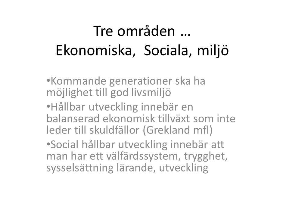 Tre områden … Ekonomiska, Sociala, miljö • Kommande generationer ska ha möjlighet till god livsmiljö • Hållbar utveckling innebär en balanserad ekonom