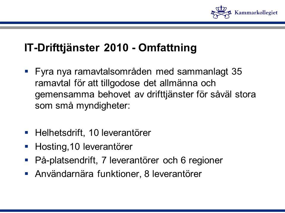 IT-Drifttjänster 2010 - Omfattning  Fyra nya ramavtalsområden med sammanlagt 35 ramavtal för att tillgodose det allmänna och gemensamma behovet av dr