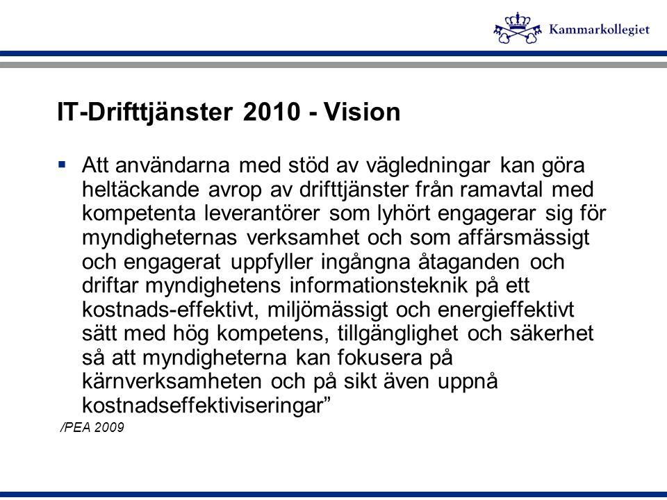IT-Drifttjänster 2010 - Vision  Att användarna med stöd av vägledningar kan göra heltäckande avrop av drifttjänster från ramavtal med kompetenta leve