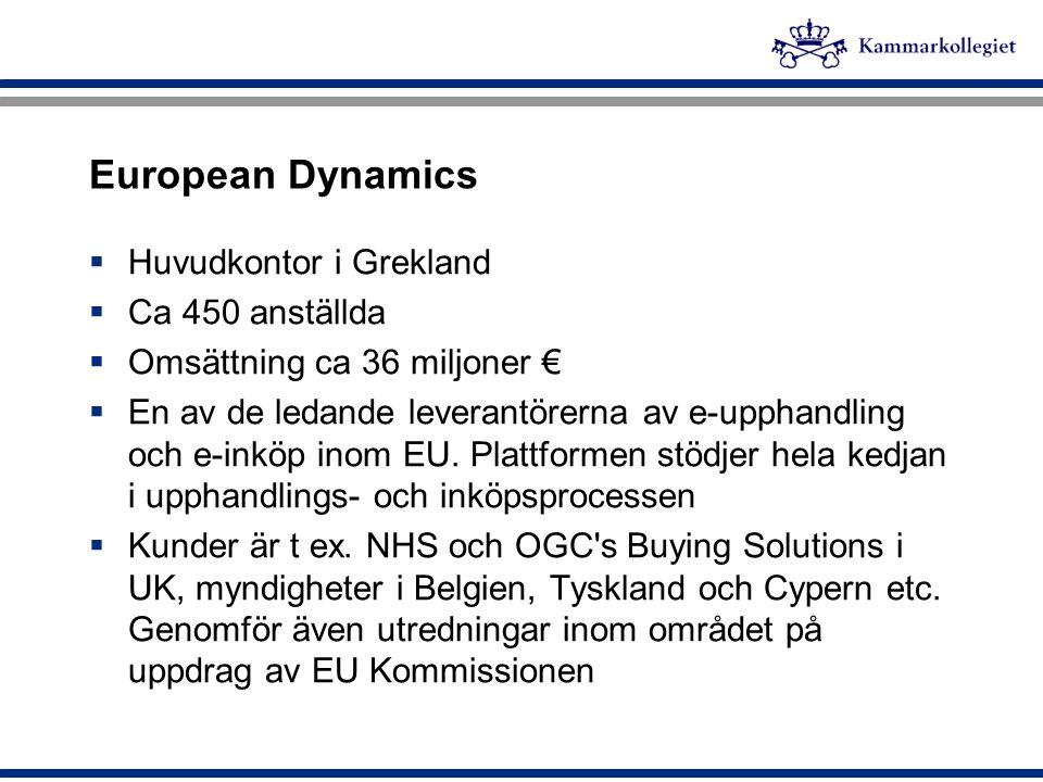 European Dynamics  Huvudkontor i Grekland  Ca 450 anställda  Omsättning ca 36 miljoner €  En av de ledande leverantörerna av e-upphandling och e-i