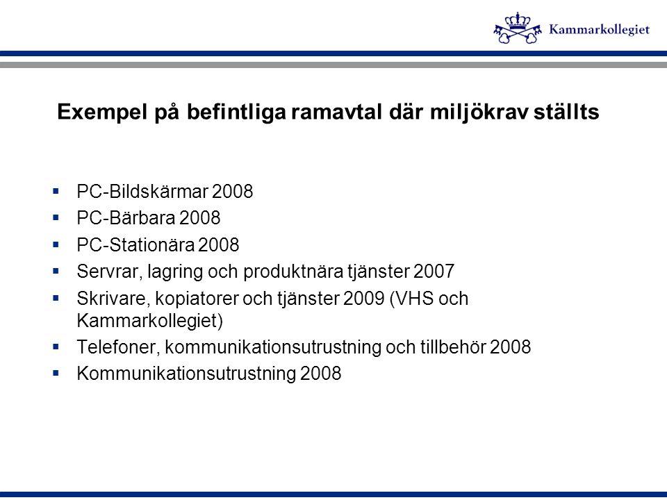 Exempel på befintliga ramavtal där miljökrav ställts  PC-Bildskärmar 2008  PC-Bärbara 2008  PC-Stationära 2008  Servrar, lagring och produktnära t
