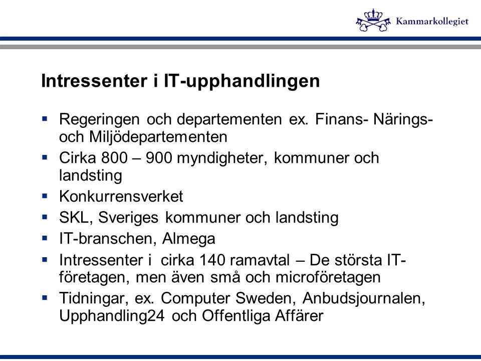 Intressenter i IT-upphandlingen  Regeringen och departementen ex. Finans- Närings- och Miljödepartementen  Cirka 800 – 900 myndigheter, kommuner och
