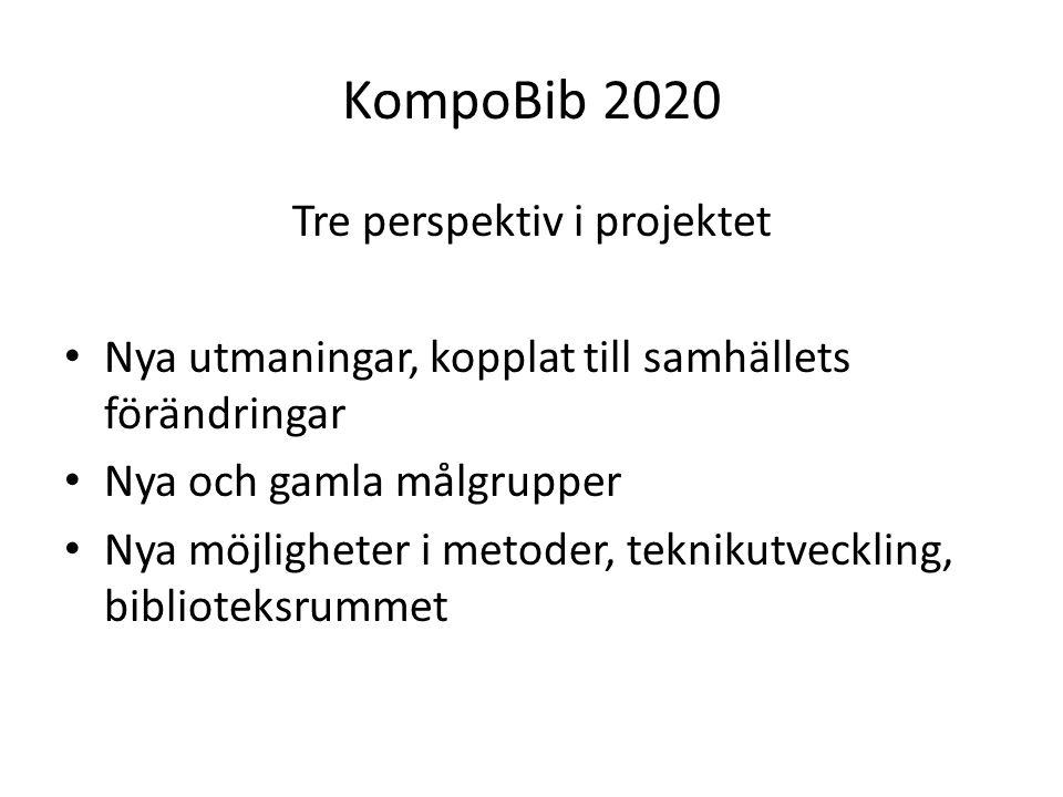 KompoBib 2020 Tre perspektiv i projektet Nya utmaningar, kopplat till samhällets förändringar Nya och gamla målgrupper Nya möjligheter i metoder, teknikutveckling, biblioteksrummet