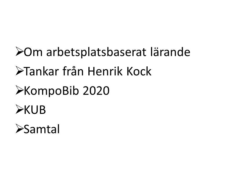  Om arbetsplatsbaserat lärande  Tankar från Henrik Kock  KompoBib 2020  KUB  Samtal