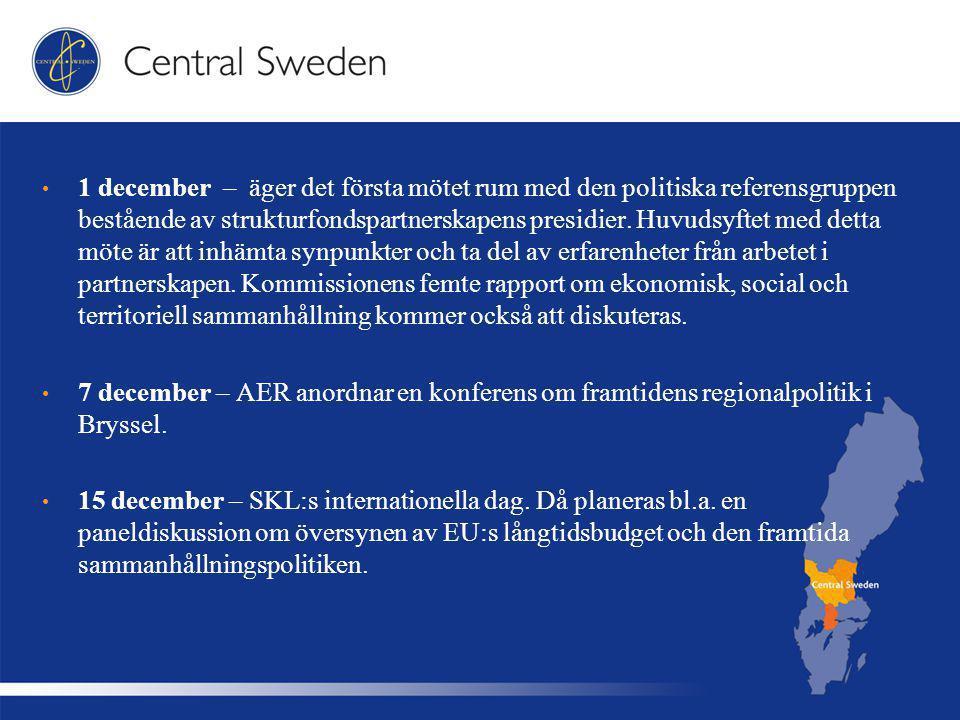 1 december – äger det första mötet rum med den politiska referensgruppen bestående av strukturfondspartnerskapens presidier.