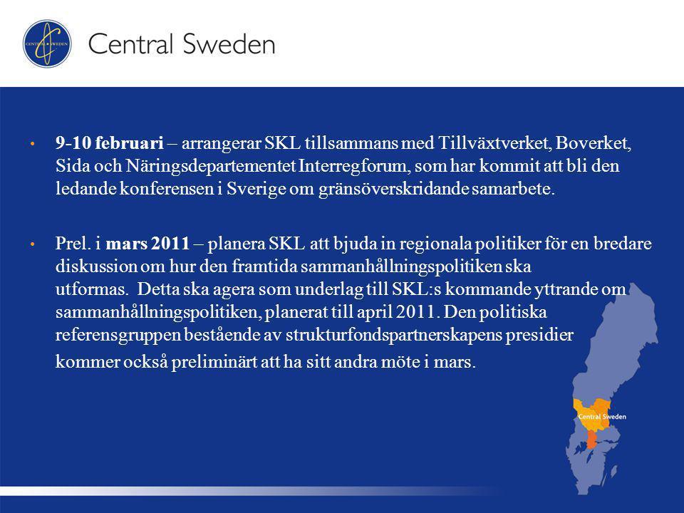 9-10 februari – arrangerar SKL tillsammans med Tillväxtverket, Boverket, Sida och Näringsdepartementet Interregforum, som har kommit att bli den ledande konferensen i Sverige om gränsöverskridande samarbete.