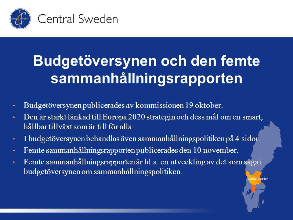 Budgetöversynen och den femte sammanhållningsrapporten Budgetöversynen publicerades av kommissionen 19 oktober.